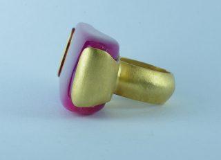 Anello agata rosa